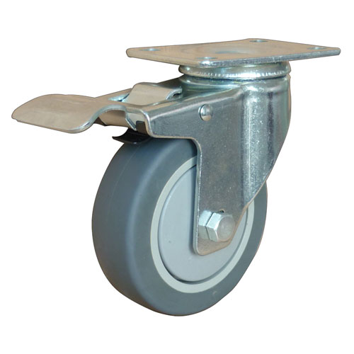 Medium duty swivel caster with total brake